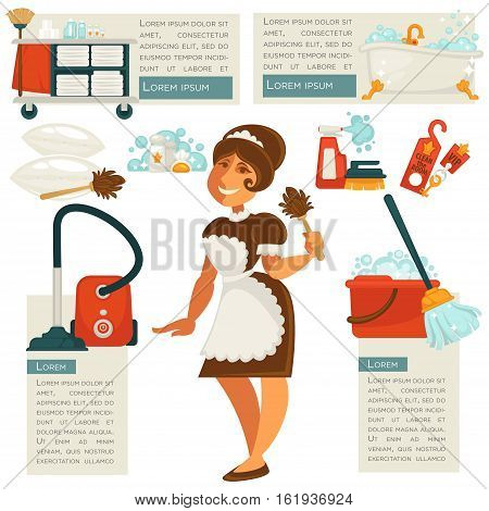Set of vector illustration with housemaid and cleaning supplies and household equipment tools. Maid in uniform with spray, bucket and broom, vacuum and detergent. Cleaner service design elements.
