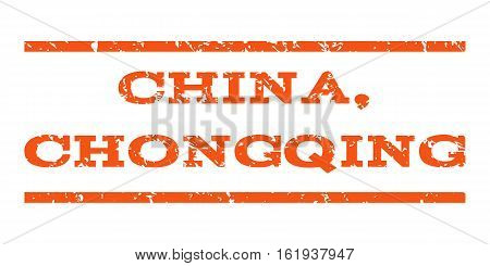 China, Chongqing watermark stamp. Text tag between horizontal parallel lines with grunge design style. Rubber seal stamp with unclean texture. Vector orange color ink imprint on a white background.