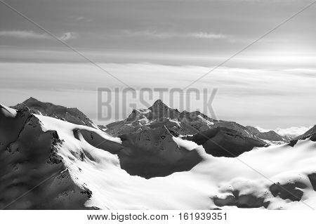 Black And White Winter Snow Mountains