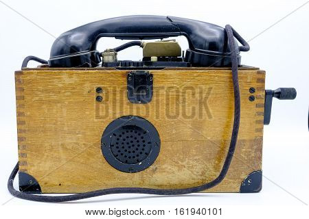 Old World War Ii Military Phone In Wooden Box.