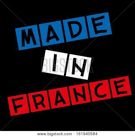 Made in France label with a black background