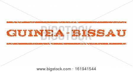 Guinea-Bissau watermark stamp. Text caption between horizontal parallel lines with grunge design style. Rubber seal stamp with dust texture. Vector orange color ink imprint on a white background.
