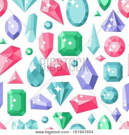 Jewelry stones seamless pattern expensive decoration. Lot of different colourful gemstones on white. Vector background diamond crystal texture geometric fashion wallpaper.