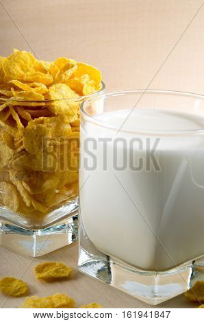Glass Of Milk And Corn Flakes For Cooking