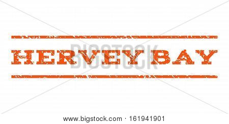 Hervey Bay watermark stamp. Text tag between horizontal parallel lines with grunge design style. Rubber seal stamp with dirty texture. Vector orange color ink imprint on a white background.