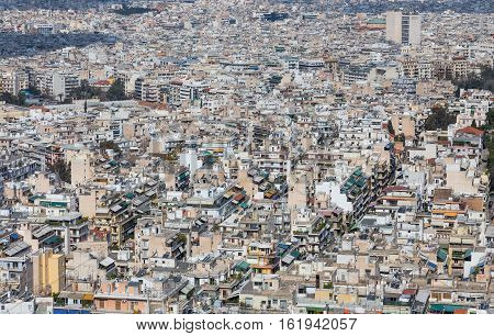 A dense residential area in Athens, Greece