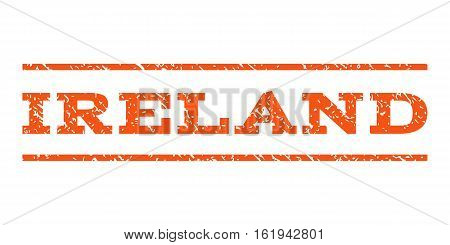 Ireland watermark stamp. Text tag between horizontal parallel lines with grunge design style. Rubber seal stamp with scratched texture. Vector orange color ink imprint on a white background.