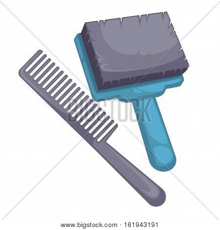 Brush and comb for animal. Equipment and accessory for pet grooming, care for dog fur. Tool it's groomer symbol. Cartoon illustration canine hairbrush, isolated on white background.