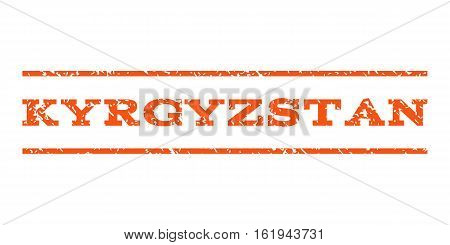 Kyrgyzstan watermark stamp. Text tag between horizontal parallel lines with grunge design style. Rubber seal stamp with scratched texture. Vector orange color ink imprint on a white background.