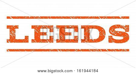 Leeds watermark stamp. Text caption between horizontal parallel lines with grunge design style. Rubber seal stamp with unclean texture. Vector orange color ink imprint on a white background.