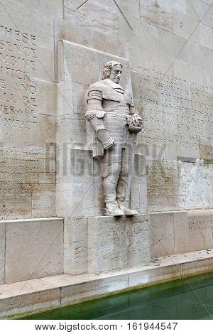 GENEVA, SWITZERLAND - JUNE 10, 2013:Statue of Oliver Cromwell in