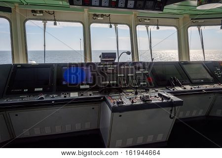 View From The Captain's Cabin On Cargo Vessel
