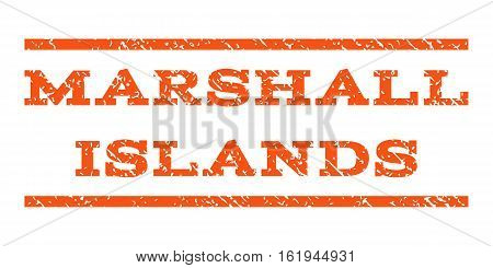 Marshall Islands watermark stamp. Text tag between horizontal parallel lines with grunge design style. Rubber seal stamp with scratched texture. Vector orange color ink imprint on a white background.