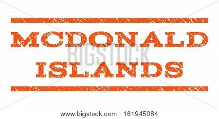 Mcdonald Islands watermark stamp. Text caption between horizontal parallel lines with grunge design style. Rubber seal stamp with unclean texture. poster