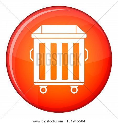 Dumpster on wheels icon in red circle isolated on white background vector illustration