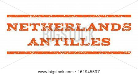 Netherlands Antilles watermark stamp. Text tag between horizontal parallel lines with grunge design style. Rubber seal stamp with dirty texture. Vector orange color ink imprint on a white background.