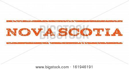 Nova Scotia watermark stamp. Text caption between horizontal parallel lines with grunge design style. Rubber seal stamp with dust texture. Vector orange color ink imprint on a white background.