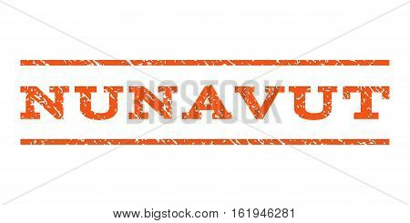 Nunavut watermark stamp. Text caption between horizontal parallel lines with grunge design style. Rubber seal stamp with dust texture. Vector orange color ink imprint on a white background.