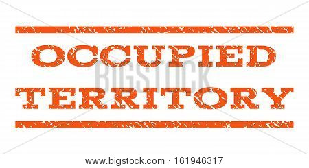 Occupied Territory watermark stamp. Text caption between horizontal parallel lines with grunge design style. Rubber seal stamp with dust texture. Vector orange color ink imprint on a white background.
