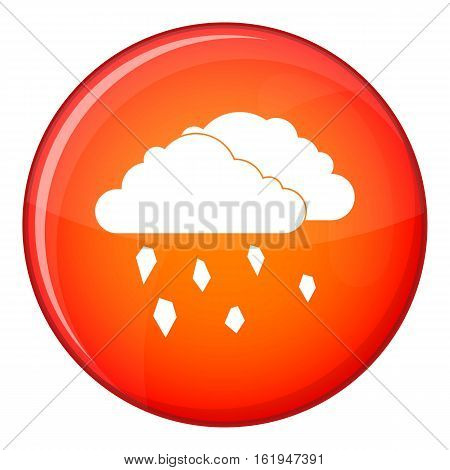 Clouds and hail icon in red circle isolated on white background vector illustration