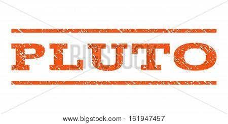 Pluto watermark stamp. Text tag between horizontal parallel lines with grunge design style. Rubber seal stamp with unclean texture. Vector orange color ink imprint on a white background.