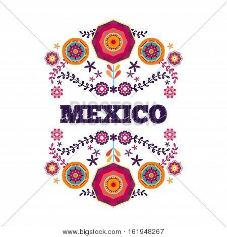 Mexico flowers, pattern and elements. Vector design template for Mexican restaurant