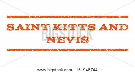 Saint Kitts and Nevis watermark stamp. Text tag between horizontal parallel lines with grunge design style. Rubber seal stamp with unclean texture.