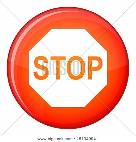Stop sign icon in red circle isolated on white background vector illustration