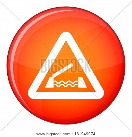 Lifting bridge warning sign icon in red circle isolated on white background vector illustration