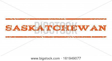 Saskatchewan watermark stamp. Text caption between horizontal parallel lines with grunge design style. Rubber seal stamp with dirty texture. Vector orange color ink imprint on a white background.
