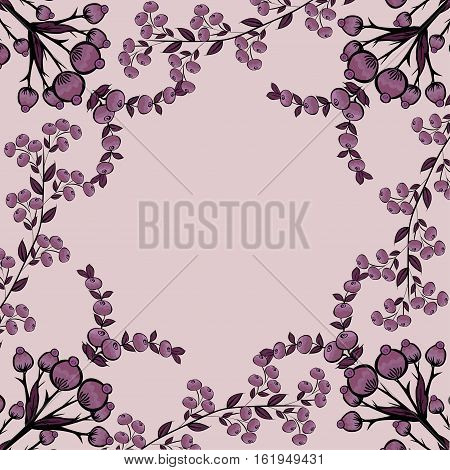 Berries natural vector background. Floral pattern place text.