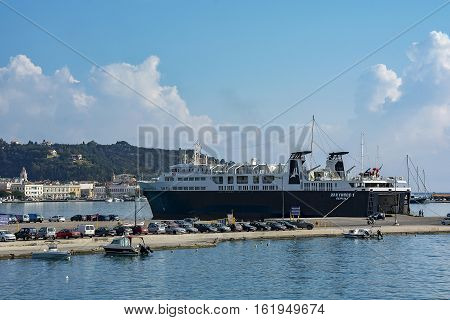 Zakynthos Island Greece - 06/09/2016: Marine cargo ferry in the port of Zakynthos Sea ferry arrive at the port