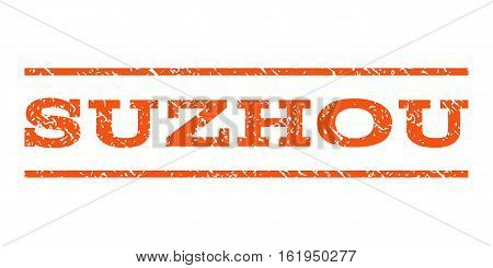 Suzhou watermark stamp. Text caption between horizontal parallel lines with grunge design style. Rubber seal stamp with unclean texture. Vector orange color ink imprint on a white background.