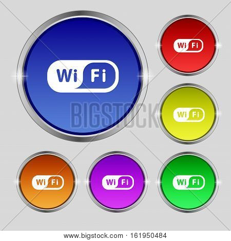 Wireless Network Icon Sign. Round Symbol On Bright Colourful Buttons. Vector