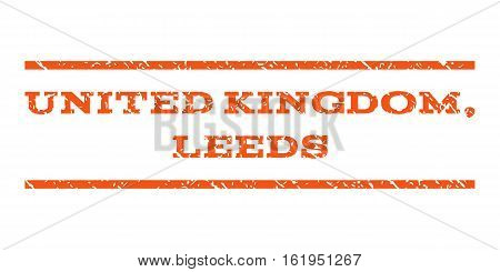 United Kingdom, Leeds watermark stamp. Text caption between horizontal parallel lines with grunge design style. Rubber seal stamp with dust texture.