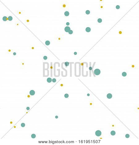 Gold, green messy dots. Abstract colorful dotted seamless pattern. Round geometric seamless pattern on white background. Infinity geometrical pattern. Vector illustration.