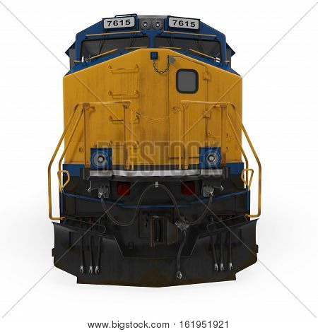 Diesel Locomotive on white background. Front view. 3D illustration
