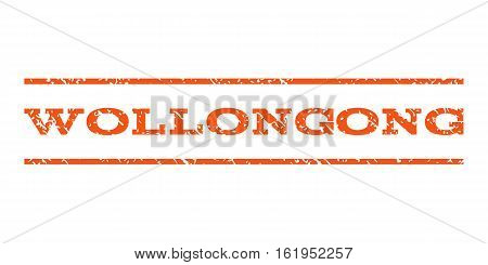 Wollongong watermark stamp. Text caption between horizontal parallel lines with grunge design style. Rubber seal stamp with scratched texture. Vector orange color ink imprint on a white background.