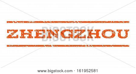 Zhengzhou watermark stamp. Text caption between horizontal parallel lines with grunge design style. Rubber seal stamp with dirty texture. Vector orange color ink imprint on a white background.