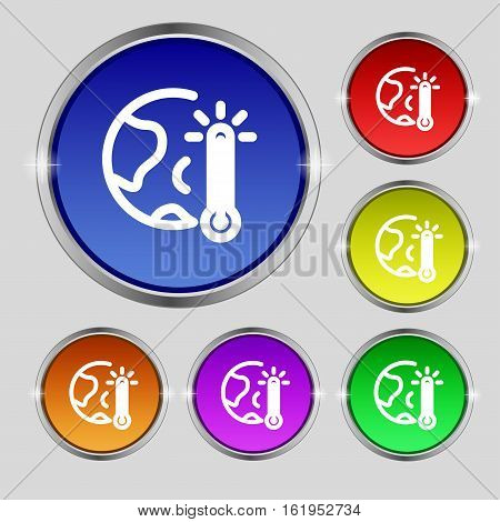 Global Warming, Ecological Problems And Solutions, Thermometer Icon Sign. Round Symbol On Bright Col