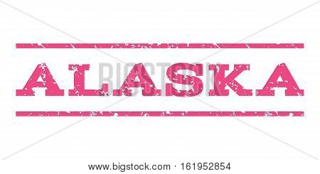 Alaska watermark stamp. Text tag between horizontal parallel lines with grunge design style. Rubber seal stamp with dust texture. Vector pink color ink imprint on a white background.