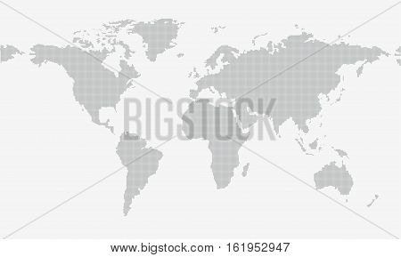 Dotted map isolated on grey background with resolution 5000x2500 dots and all major earth continents - Eurasia North and South America Africa Australia.