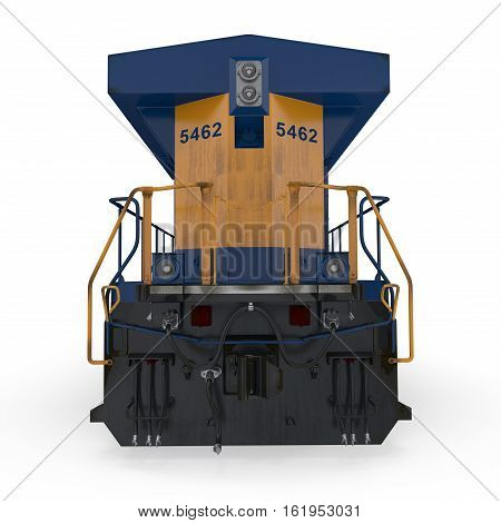Diesel Locomotive on white background. Rear view. 3D illustration
