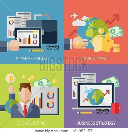 Flat design concepts for business strategy, finance, management, investment, consulting, teamwork, great idea. Concepts for web banners and promotional materials.