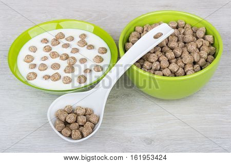 Bowls With Yogurt And Extruded Rye Bran, Plastic Spoon
