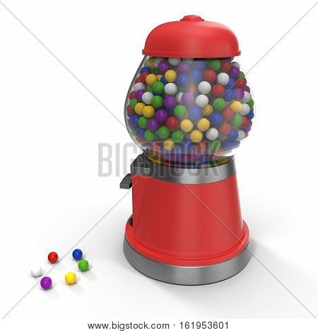 Gumball vending machine filled with colorful gumballs isolated on white background. 3D illustration
