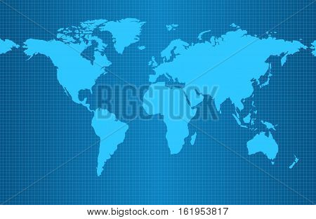 Earth map on blue gradient background with grid and all major earth continents - Eurasia North and South America Africa Australia.