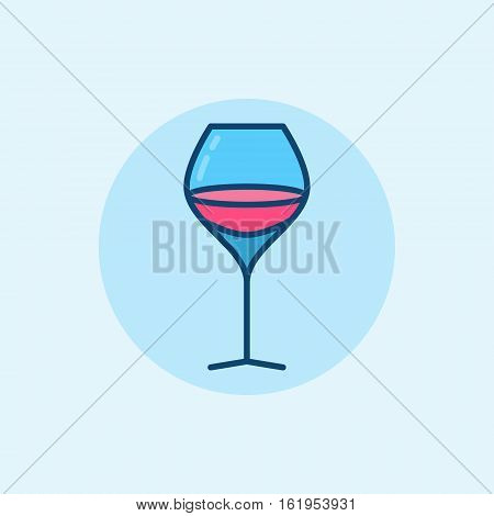 Glass of wine flat icon. Vector simple wine glass colorful sign on blue background