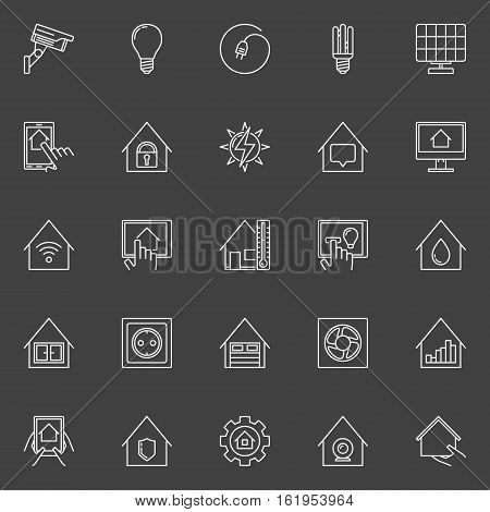 Smart home linear icons. Vector set of home automation outline signs on dark background
