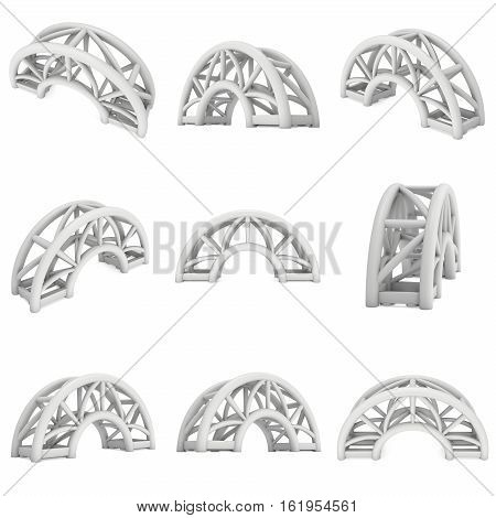 Steel truss arc girder element set. 3d render isolated on white